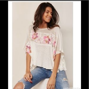 FREE PEOPLE Oversized Live Letter Tee White XS